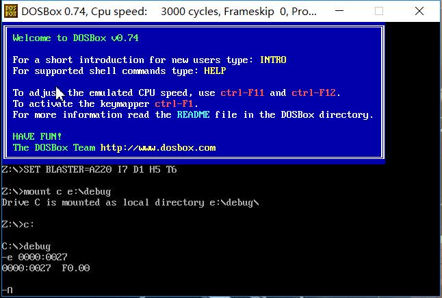然后我只改0000:0020开始的内存单元,结果debug又卡住了
